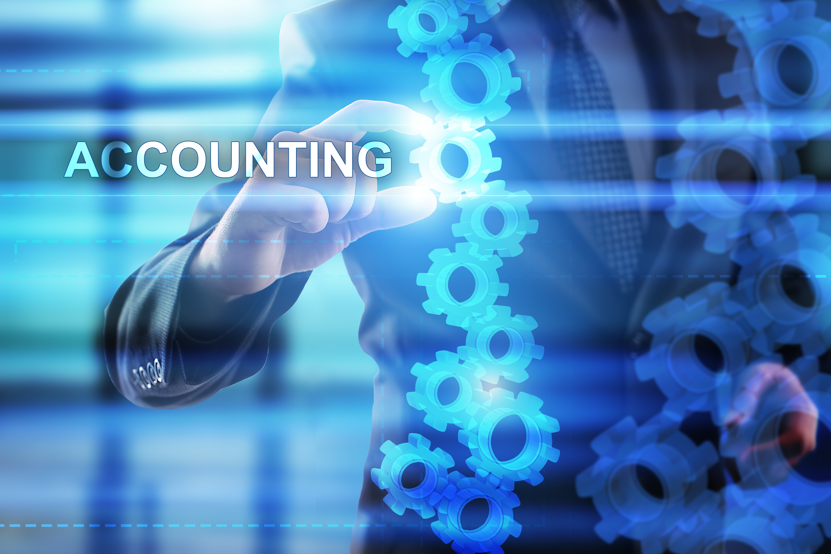"""Businessman is selecting """"Accounting"""" on the virtual screen."""